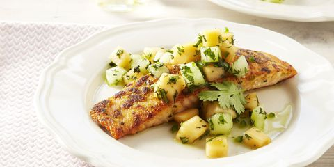 gember crusted salmon with melon salsa