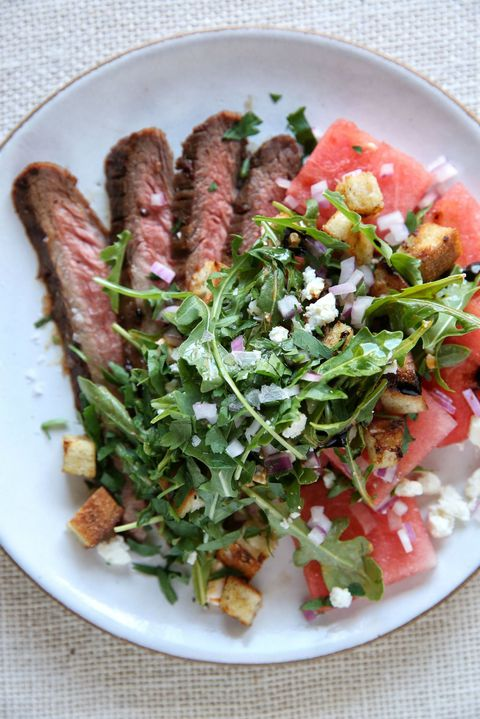 Бок Steak with Watermelon Salad Recipe