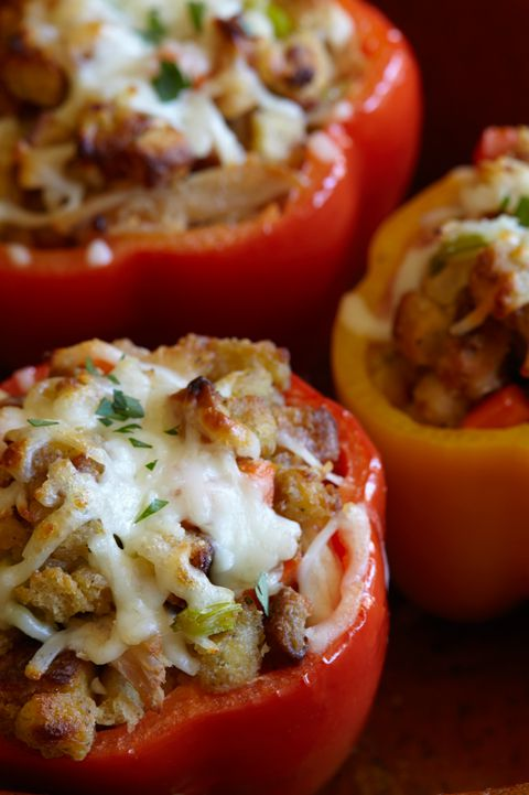 Beurt leftover turkey and stuffing into a healthy(ish) day-after dinner by stuffing them in bell peppers.Get the recipe on Delish.