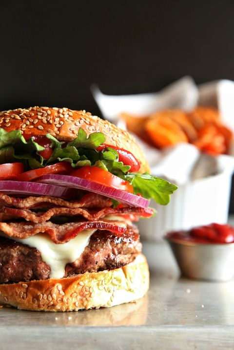 Bacon Cheeseburgers with Sweet Potato Chips Recipe