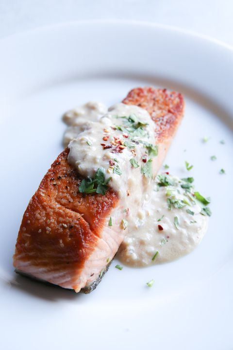Salmon with Spicy Coconut Milk Sauce Vertical