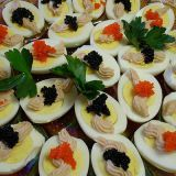 Com the 1960s focus on pricey ingredients, deviled eggs found themselves topped with caviar.