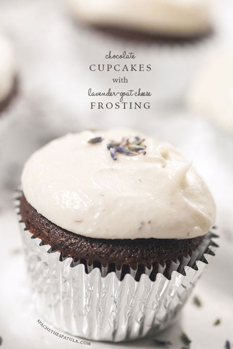 chocolate cupcakes with lavender goat cheese frosting