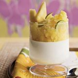 iaurt panna cotta with pineapple granita