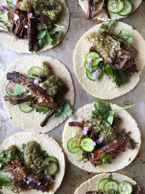 Recipe for slow-cooker Korean beef tacos.