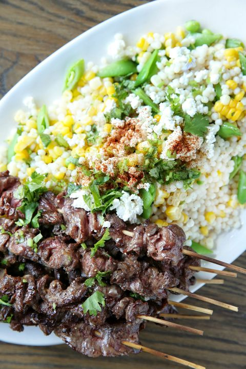 Friptură Skewers with Mexican Corn Couscous Salad Recipe
