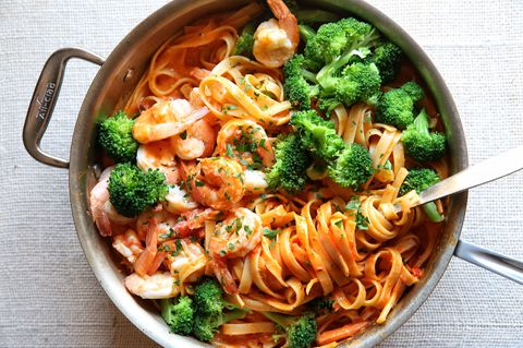 Cremoso Tomato Fettuccine with Shrimp and Broccoli Recipe