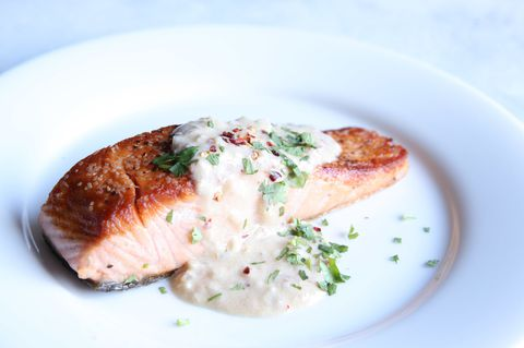 Salmon with Spicy Coconut Milk Sauce Horizontal