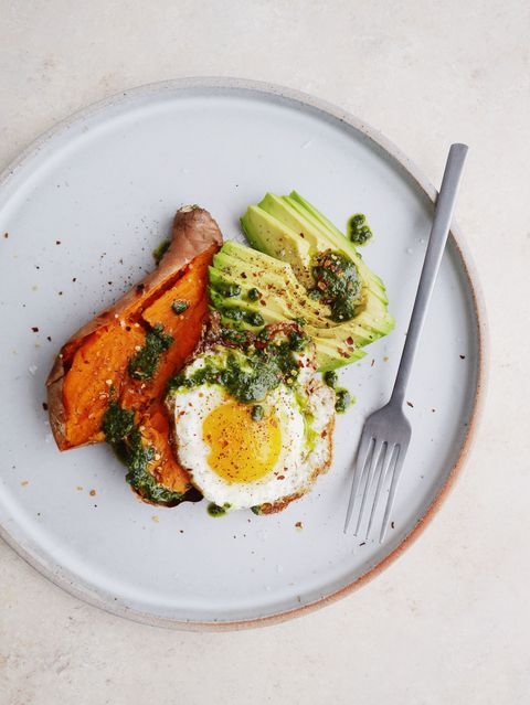 loaded Baked Sweet Potatoes with Avocado, Pesto, and Fried Eggs Vertical