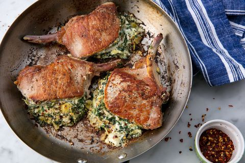 Espinafre & Artichoke Stuffed Pork Chops Horizontal
