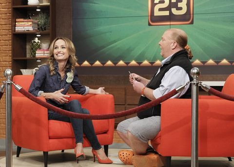 Giada De Laurentiis and Mario Batali on the set of The Chew.