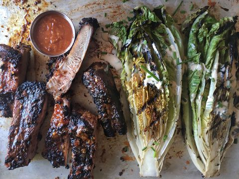 BBQ Spareribs with Grilled Romaine Recipe